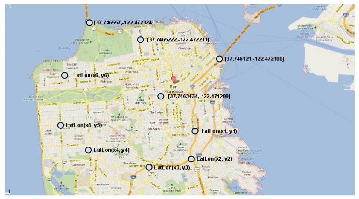 San Francisco Kartta Koordinaatit Kartta San Francisco